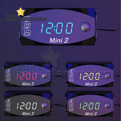 £4.61 • Buy 3 In1 LED Electronic Time Clock Thermometer Watch Voltmeter For 12V Motorcycle
