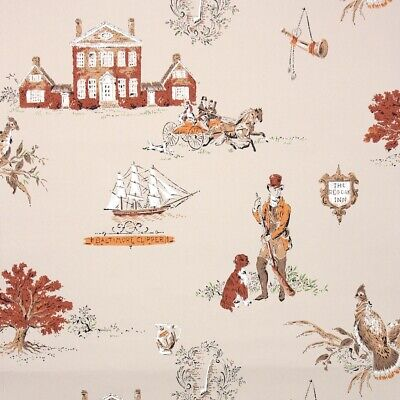 1950s Vintage Wallpaper Novelty Hunting Scenic With Pheasants Dogs And Ships • 35.16£