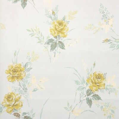 £25.36 • Buy 1950s Vintage Floral Wallpaper Yellow Roses On White