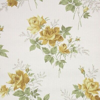 £39.85 • Buy 1950s Floral Vintage Wallpaper Yellow Roses On White Green Leaves