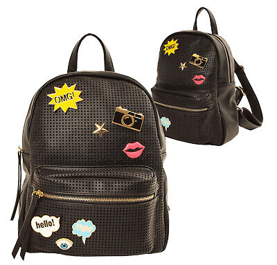 AU36.06 • Buy Women's Vegan Leather Mesh  Zipper Backpack Girls Emoji  Charms Shoulder Bag