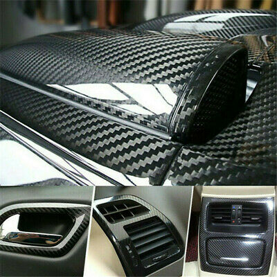 $14.76 • Buy Parts Accessories Black Glossy Vinyl Film Car Interior Wrap Stickers Bubble Free