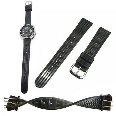 Men Sharky Waffle Rubber Strap Wrist Watch Band Strap For Seiko Diver Watch 20mm • 10.44£