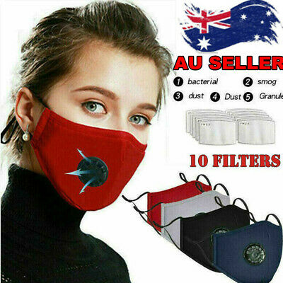 AU2.98 • Buy Air Purifying Face Mask Washable Reusable Safety Respirator Mask+ 10 Filters AU