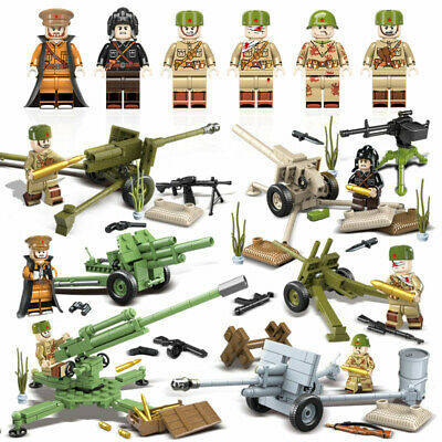$77 • Buy WWII Soviet Artilleries Army Soldiers Minifigure Military Building Blocks Toy
