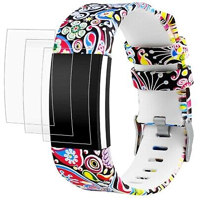$ CDN33.12 • Buy Band For Fitbit Charge 2 With Screen Protectors, AFUNTA 1 Printing Design Sil...