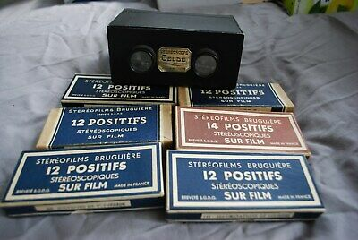 Nice Complete Celde Stereoscope Viewer  And  6 Sets Of Lourdes Positifs Slides • 38£