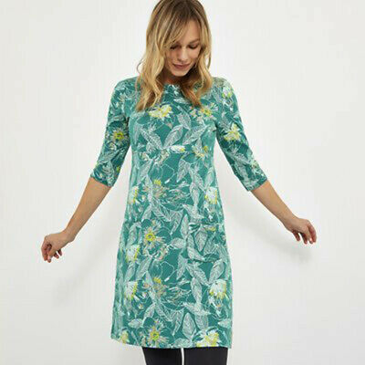 Weird Fish Green Floral Print Scoop Neck 3/4 Sleeves Cotton Tunic Dress Top  • 16.99£