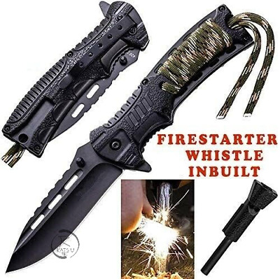 AU25.39 • Buy Survival Hunting Camping Folding Pocket Knife Paracord Fire Starter Whistle AU