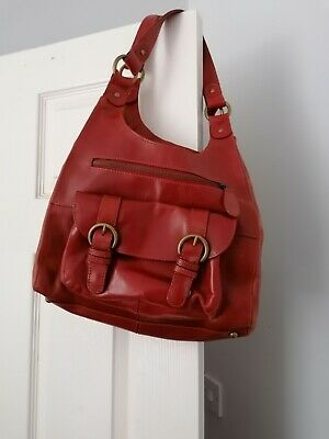 M&S Autograph Red Leather Bag Pretty Lining Great Condition • 19.99£