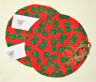 10 Christmas Red Holly Jam Jar Chutney Candle Covers Free Jute Ties Labels Bands • 2.80£