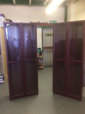 2x Ikea Dark Red Billy Bookcases With Glass Doors New (used) • 195£