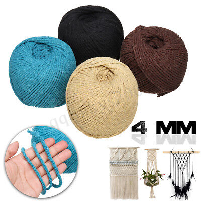 AU15.59 • Buy DIY 4mm Macrame Rope Colorful Cotton Twisted Cord Handmade String Hand Craft