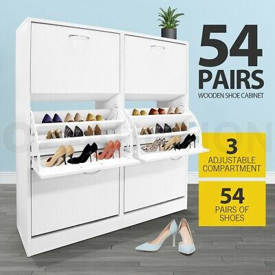 AU149.95 • Buy Shoe Cabinet Shoes Storage Rack Organiser Wooden Shelf 54 Pairs 6 Compartment WH