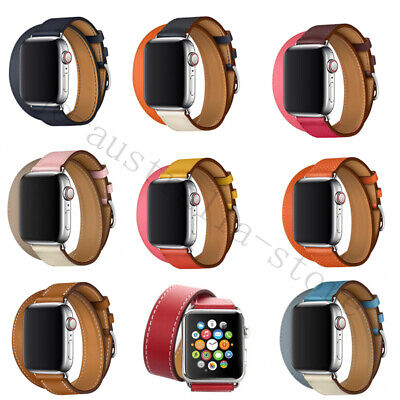 AU14.99 • Buy Leather Band Double Tour Bracelet Watchband For Apple Watch Series 5 4 3 2 1
