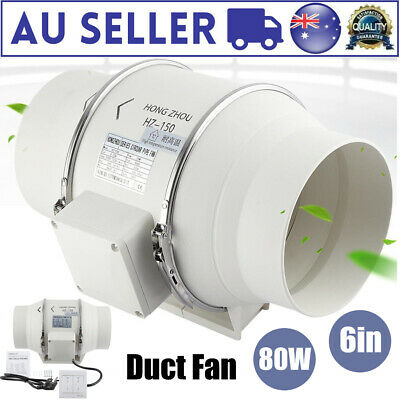 AU51.98 • Buy 6  Exhaust Vent Fan Inline Duct Air Extractor Grow Tent Ventilation Hydroponic