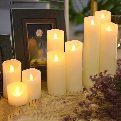 LED Candles Flameless Flickering LED Wax Candles Pillar Candles Battery Wedding • 12.59£