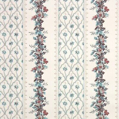 £39.85 • Buy 1950s Floral Stripe Vintage Wallpaper Pink Teal And Mauve Flowers On White