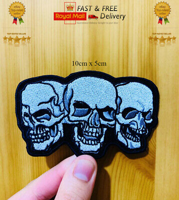 Trio Skull Biker Motorcycles Embroidered Sew / Iron On Patch Badge Jacket N-10 • 1.99£