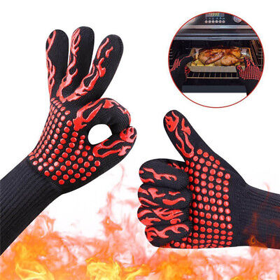 £6.99 • Buy 1Pc 932°F Heat Proof Resistant Glove Oven Mitts Silicone BBQ Grill Bake Cooking