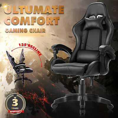 AU129.90 • Buy Racer Gaming Chair Computer Executive Office Recliner Seating PU Leather Black