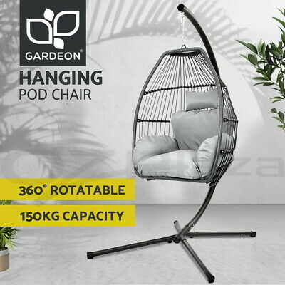 AU299.95 • Buy Gardeon Outdoor Furniture Lounge Swing Chair Egg Hammock Stand Pod Wicker Grey