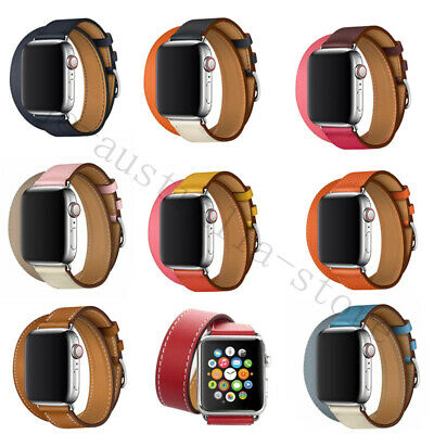 AU14.99 • Buy Leather Band Double Tour Bracelet Watchband For Apple Watch Series 5 4 3 2 6 Se