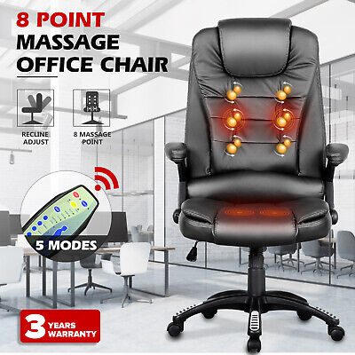 AU137.90 • Buy 8 Point Heated Massage Chair Executive Computer Office Chairs PU Seating Black