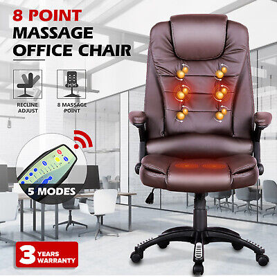 AU179.90 • Buy 8 Point Heated Massage Chair Executive Computer Office Chairs PU Seating Brown