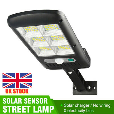 LED Solar Wall Light PIR Motion Sensor Dimmable Lamp Outdoor Garden Street UK~ • 12.39£