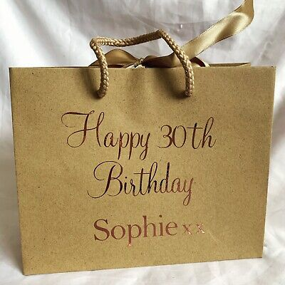 Personalised Aged Birthday MEDIUM Gift Bag Box Any Age Name Colour  • 6.35£