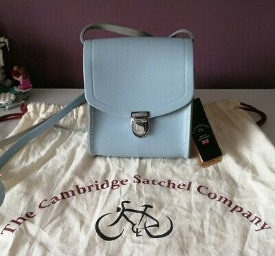 New With Tags Cambridge Satchel Company Small Leather Alpine Blue Push Lock Bag • 50£