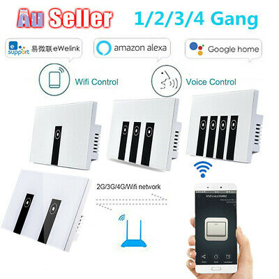 AU32.99 • Buy Smart Home Wifi Wall Light Touch Panel Switch App For Alexa Google Home 1-4 Gang