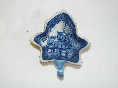 Antique Late Georgian Blue Printed Pearlware Pottery Pickle Dish. • 4.99£