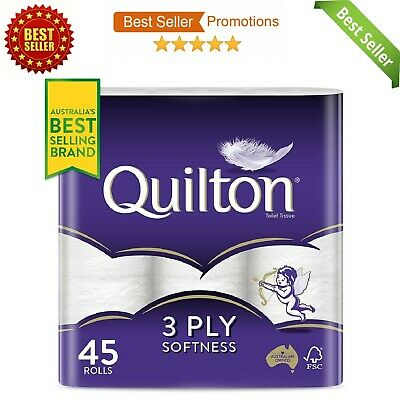 AU28.49 • Buy Toilet Paper 45 Rolls Quilton 3 Ply White Soft Tissue Bulk 180 Sheets Per Roll