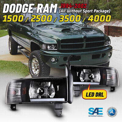 $102.99 • Buy LED Headlights For 94-01 Dodge Ram 1500 2500 3500 DRL Bar Front Lamps Black Pair