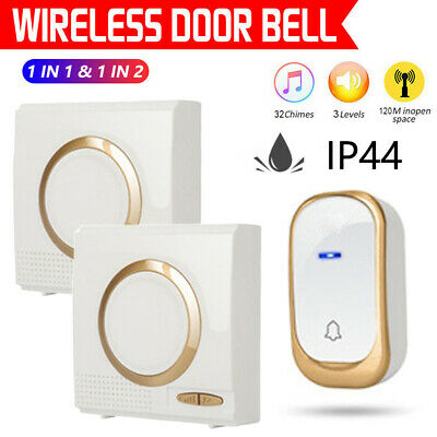 Wireless Door Bell 120M Range 32Chime Cordless Portable Digital Battery Operated • 10.79£