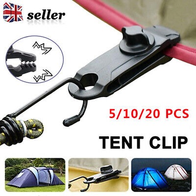 Reusable 20Pcs Windproof Clip Awning Clamp Tarp Clips Snap Hanger Tent Camping • 5.82£