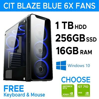 FAST Gaming PC Computer Intel I5 I7 256 SSD +1TB 16GB RAM 6 Fans, Win10 USB 3.0 • 363.99£