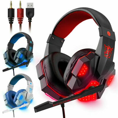 Gaming Headset USB Wired Over LED Headphones Stereo With Mic For Phone/PC/Laptop • 3.93£