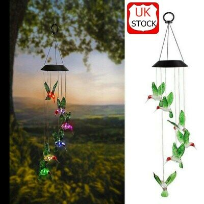 Color-Changing LED Solar Powered Hummingbird Wind Chime Lights Yard Garden Decor • 9.07£