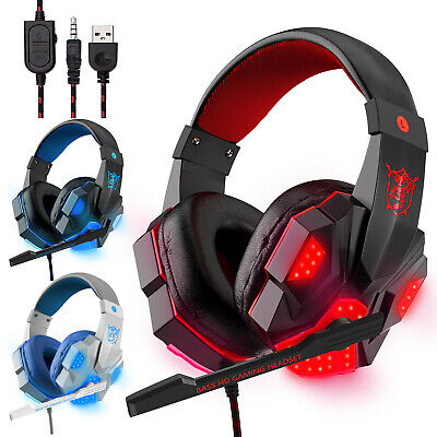 3.5mm Gaming Headset Mic LED Headphones Stereo Bass Surround For PC Xbox One PS4 • 5.07£