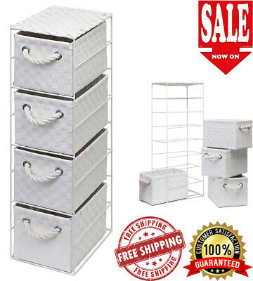 4 Drawer Basket Tower Storage Rattan Slim Wicker Unit Bedroom Bathroom Home • 29.99£