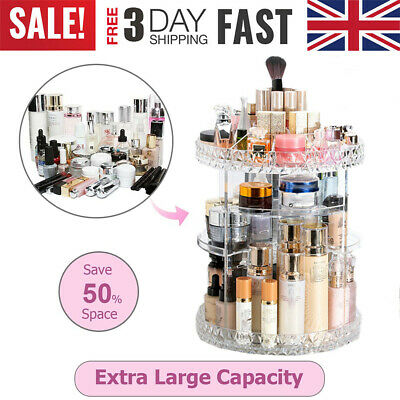 Adjustable Rotating Makeup Organiser Jewelry Perfumes Cosmetic Display Stand Box • 10.88£