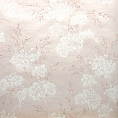 £39.85 • Buy 1950s Floral Botanical Vintage Wallpaper White Embossed Flowers On Pearly Pink