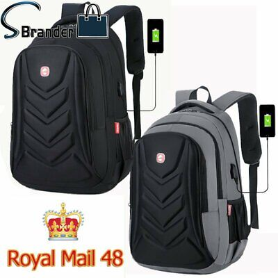 Swiss 15.6  Travel School Bag USB Charge Port Laptop EVA Protect Shell Backpack • 13.09£