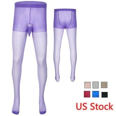 $5.41 • Buy US Men Footed Pantyhose Elastic Glossy Stockings Sheer Tights With Sheath Pouch