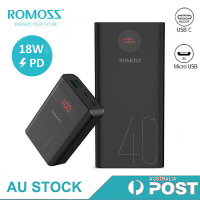 AU28.99 • Buy Romoss External Power Bank 18W PD USB-C 3A Quick Charge Portable Battery Charger