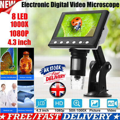1000X 4.3  Monitor Electronic Digital Video Microscope 8 LED Magnifier 1080P HD • 27.95£