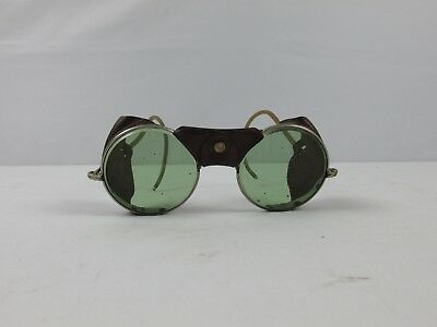 $119.99 • Buy Vintage Steampunk Safety Sun Green Glasses Goggles Antique Driving Motorcycle